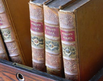 Byron's Life and Works. Antique set of six leather bound volumes. Circa 1866. Marbled boards. Engravings. Antique Book Set. Instant Library.