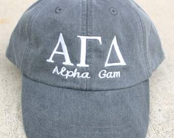 Alpha Gamma Delta with script (Alpha Gam) baseball cap