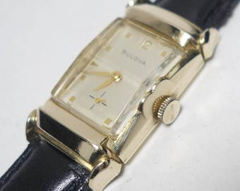 "1957 Rare Serviced Bulova 21 Jewel ""His Excellency"" Wristwatch with Box & Papers, Mid Century Bulova ""His Excellency"" Watch, Bulova"