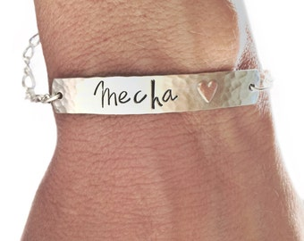 Women's Sterling silver id bracelet, name jewelry, gift for her, secret message, engraved identification, copper heart, custom personalized