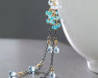Topaz Shoulder Duster by Agusha. Blue Topaz Dangle . Long Dangle Earrings