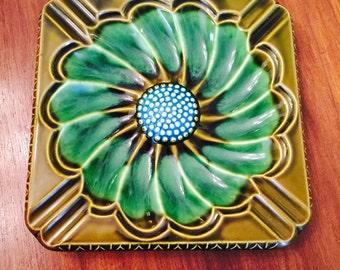 Midcentury Large Ceramic Ashtray Flower Green Blue Japan Oversized 1950s 1960s