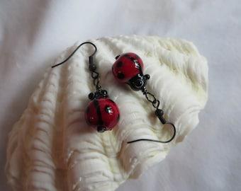 Lady Bug  Earrings, earrings, dangle, lady bug