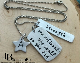Hand Stamped Necklace ~ She Believed She Could So She Did ~ Motivational Necklace ~ Girl Power ~ Employee Reward ~ Power Word