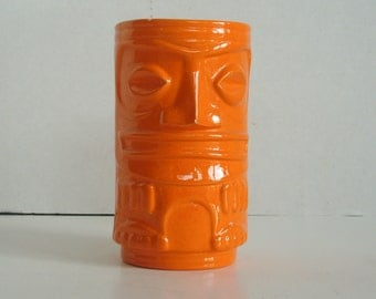 RESERVED--Please do not purchase-Hawaiiana Two-Faced Ceramic / Pottery Tiki Bar Mug in Bright Orange