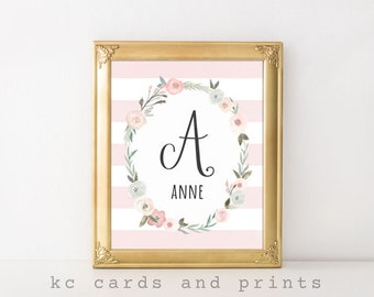 Monogram Art Nursery, Anne, Nursery Name Signs, Baby Name, New Baby Gift, Nursery Name Printable, Baby Girl Nursery Decor, Digital Print