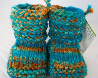 Day Dreamer - Hand Spun/Hand Dyed/Knit Sheepskin Soled Booties 0-6 Months