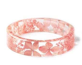 Pink Flower Bracelet -Real Flower Jewelry- Flower Jewelry- Jewelry with Real Flowers- Pink Flowers- Resin Jewelry- Pink Bracelet