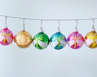 Set of 6 Hand Painted Christmas Glass Ornaments With Bells