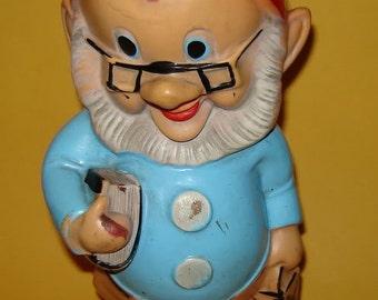"Antique 1950s Rubber Squeak Toy  -  DOC - 7 DWARFS - 10 1/2"" tall - Walt DISNEY"