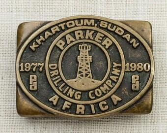 Parker Drilling Company Belt Buckle Anacortes Brass Works Ltd Washington Handmade Solid Brass USA 1979 Khartoum Sudan Africa Vintage 7F