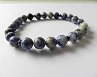 Mens gemstone surfer style bracelet with sodalite and hematite