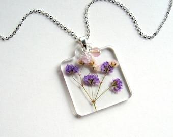 Purple Gypsophila - Real Flower Garden Necklace - botanical jewelry, pressed flowers, babys breath, fluorite, flower necklace, natural, ooak