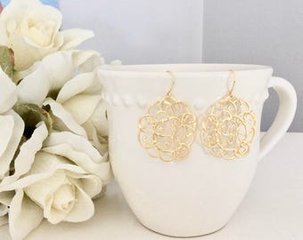 Gold Earrings, Dangle Earrings, Gifts for Her, Best Friend Gifts, Birthday Gift, gifts under 20, Lace Earrings, Bridesmaid Earrings