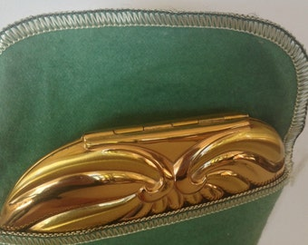 RARE EVAns heart compact 1940 GORGeous undulating repouse lines ART DECO Glamour Two Tone Rose and Rose Gold in a large Jewelers Brass Artpc