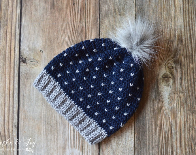 Snowfall Slouchy Hat CROCHET PATTERN Digital Download