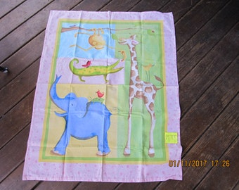 Spotted Giraffe Elephant Monkey Alligator Extra Large 35 x 41 Handmade Flannel Receiving Swaddle Baby Blanket