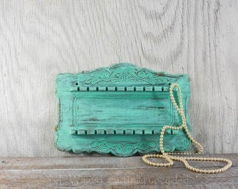 Wall Mounted Jewelry holder,  jewelry organizer, wood souvenir spoon rack, display rack, antique spoon holder, turquoise color distressed
