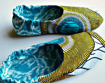 women's house shoes, wax print, Ikat, fabric slippers, soft sole shoes for women, size 7-8