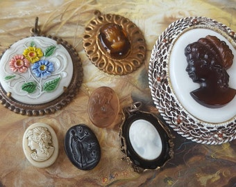Vintage RARE Cameos Czech & Art Glass Pendants and Pieces UPCYCLED