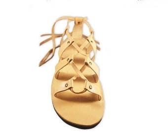 Ancient Style Roman Greek Sandals, Women/ Men Gladiator Sandals, Lace Up Handmade Leather Sandals - MAGIC
