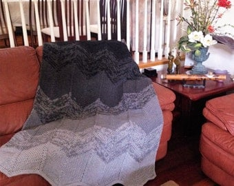 Ready-Made Knit Afghan---GREY CHEVRON