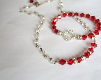 RED CRYSTAL SET Necklace and Bracelet Set Red Bicone Crystals and Rhinestones