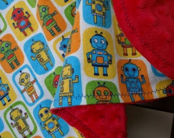 ROBOTS - Minky Backed Snuggle Blanket - Travel Blanket - Crib Blanket - Soft