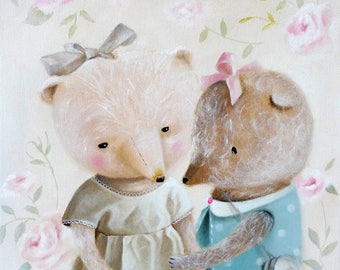 Teddy Bear Print, animal painting bearlover, nursery illustration, girl room decor, whimsical art, Realism wall decor, animals in clothes