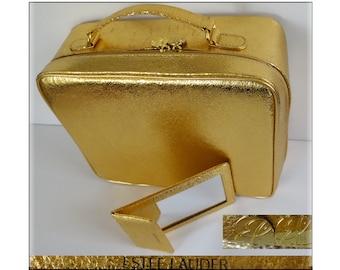 Vintage 1960s Purse//Estee Lauder//Mirror//Marked Estee Lauder//Handbag//60s Purse//Gold Metallic