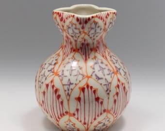 Ceramic Handmade Bud Vase - with Orange, Red and Purple Pattern