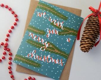 Candy Cane Christmas Card, Fir Tree Festive Greetings Card, Seasonal Christmas Card, Hand Lettered Card, Blank Christmas Card