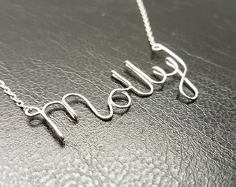 "Name Pendant  ""Molly""  Sterling Silver Custom Wire Word  Necklace Designer in UK"