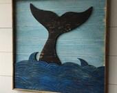 Whale Art Coastal Decor Nautical Whale Decor Whale Tail Beach Decor Wooden Whale Square Ocean Art Beach House Decor Rustic Whale Decor