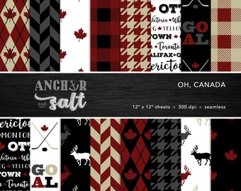 Canada Digital Paper Set -- Maple Leaf, Hockey, Reindeer, Buffalo Plaid, Houndstooth, Scrapbook, Seamless -- Personal or Commercial Use