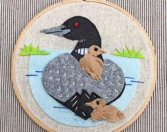 Loon Applique and Embroidery Kit, Felt Loon, Bird Embroidery Kit, Beginner Embroidery Kit, Loon Hoop Kit, Heidi Boyd