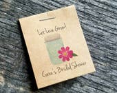 Personalized Mason Jar Hot Pink Gerber Daisy Design MINI Seeds Let Love Grow Flower Seed Packet Favor Shabby Chic Rustic Cute Little Favors