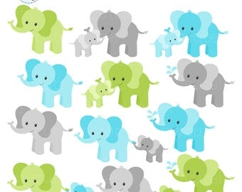 Elephants Clipart Set - blue & green - cute elephants clip art set, cute elephants - personal use, small commercial use, instant download