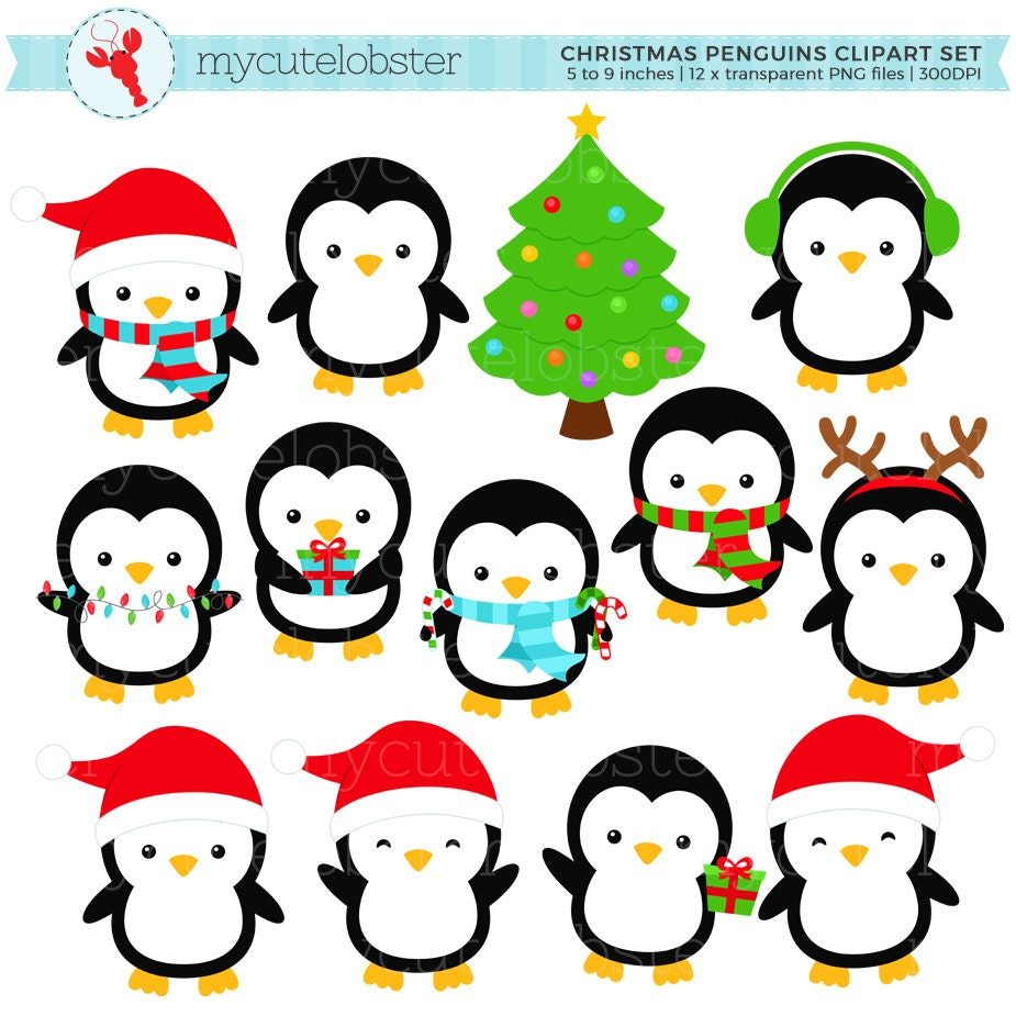 weihnachten verwenden pinguine clipart clip art set urlaub. Black Bedroom Furniture Sets. Home Design Ideas