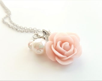 SALE - Blush Pink Rose Necklace - Blush and Pearl Necklace - Blush Pink Wedding - Bridesmaid Necklace - Rose Necklace -Ballet Pink Necklace