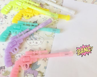 FREE SHIPPING - 2 Gun Pistol Ball Point Pens Candy Colours