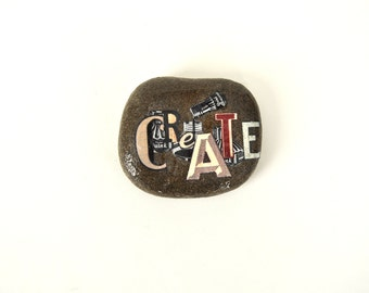 Create typography paperweight - writers, artists gift - home studio study decor