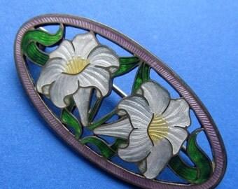 On Sale Antique Sterling Silver Enamel Lilies  Brooch Circa 1910 Art Nouveau Pin Jewelry