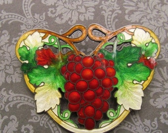 On Sale Antique Sterling Silver Cloisonne Red Grapes Brooch Art Nouveau Enamel Pin Circa 1910