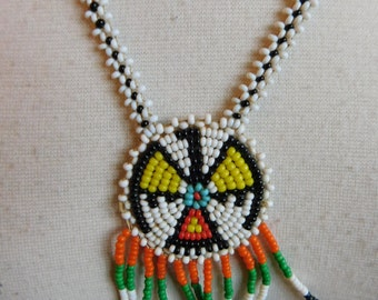 Vintage Native American Indian Thunderbird Beaded Necklace