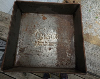 Vintage 1930s to 1940s Metal Crisco Baking Pan Square Embossed Cake/Baking Kitchen Rusty Metal Farmhouse Country Home