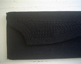 Vintage Corde Clutch Purse 1940s Angular Black Handbag
