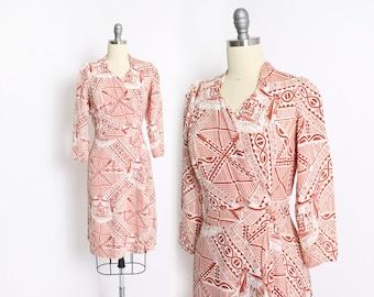 Vintage 1940s Wrap Dress - HAWAIIAN Rare Rayon Printed Novelty Dress 40s - Small S
