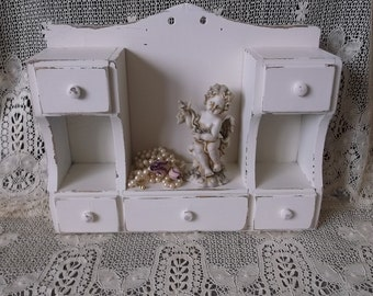 French Country Shabby, Small drawer cubby storage, desk storage, heirloom white, Vintage
