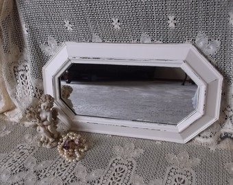 Shabby white Vintage wood mirror, rectangle octagon, wall mirror, rustic chic mirror